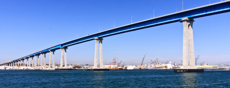San Diego - Coronado Bridge And Navy Ships